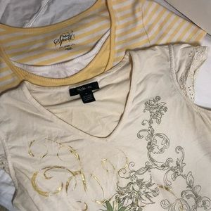 2 Style & Co tees yellow v-neck / scoop neck